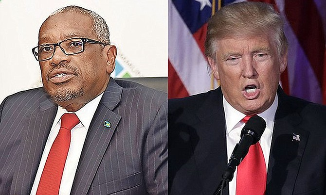 Prime Minister Dr Hubert Minnis and US President Donald Trump.