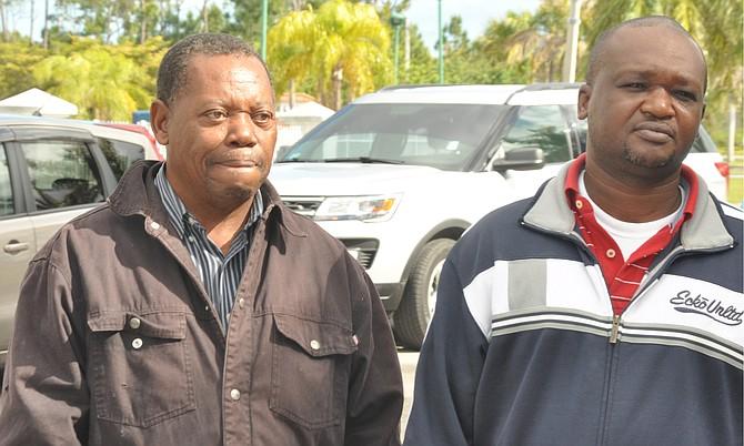 Michael Neymour, 63, (left) and Bernard Clarke, 43, outside court. Photo: Vandyke Hepburn