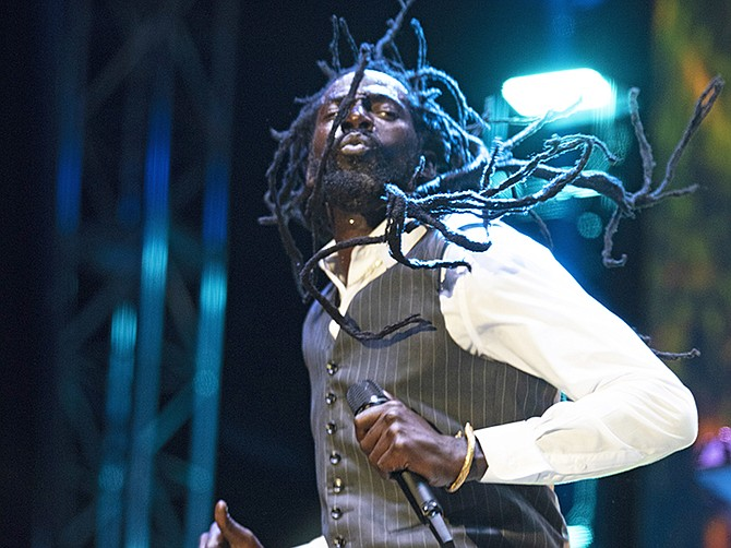 Buju Banton performs at the Thomas A Robinson National Stadium on Saturday night. Photos: Shawn Hanna/Tribune staff