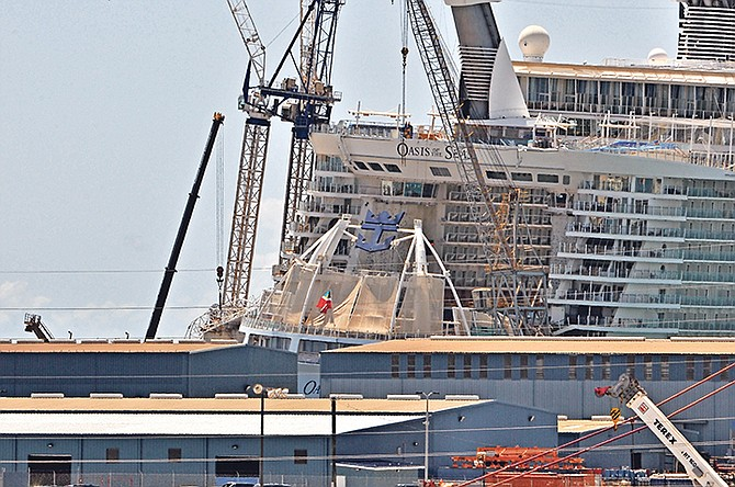 The Oasis of the Seas after the accident on Monday.