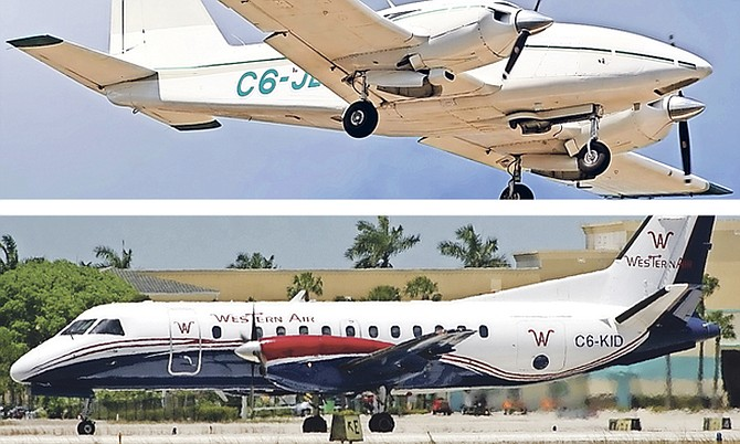 One of the planes was a Piper Aztec, C6-JEF, top, while the other aircraft was a Western Air turbo-prob aircraft,C6-KID, above, which was heading to Grand Bahama with 25passengers.