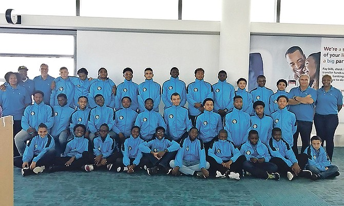 The water polo team setting off for the Carifta championships.
