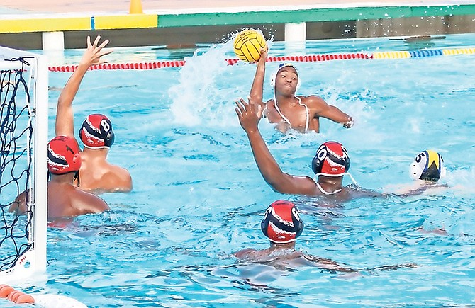 Team Bahamas in action during the water polo competition.
