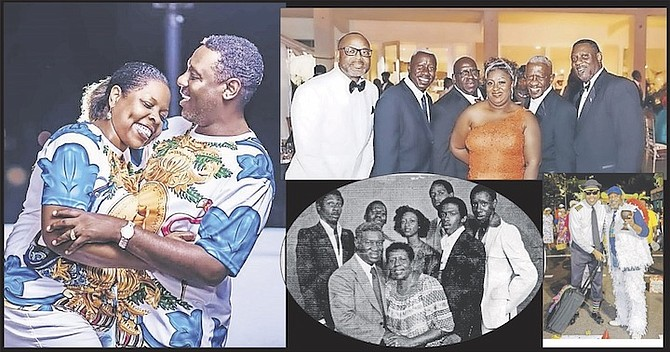 Clockwise, from left:  Paul and his wife, Porcia: the Fernander children today; Paul rushing with Sting Junkanoo group; Dennis and Rosie Fernander and their children.