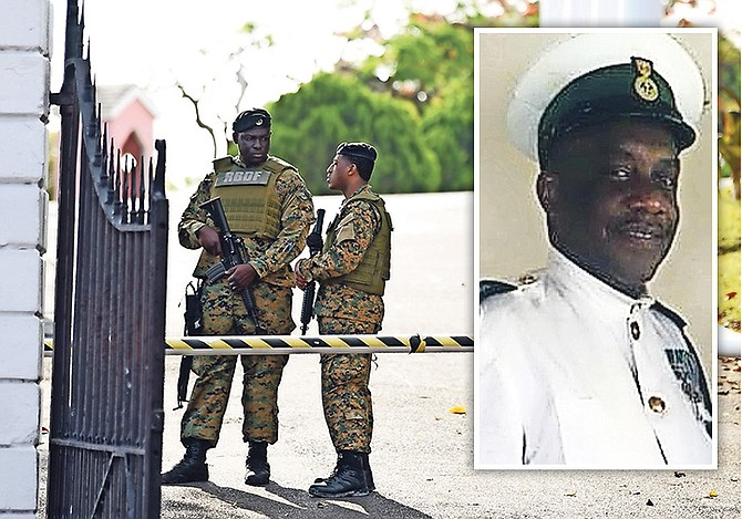 RBDF officers on duty outside Government House on Sunday following the shooting which led to the death of Petty Officer Philip Perpall (inset). Photo: Shawn Hanna/Tribune staff