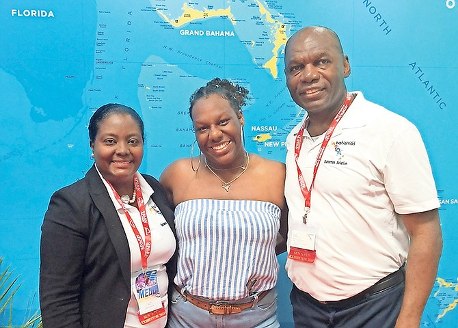 (l-r) Earnestine Moxyz, global communications manager, MOTA; Captain Ernea Miller, and Captain Greg Rolle, Senior Director of Sports and Vertical Markets, MOTA.