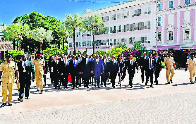 The Cabinet walking across Rawson Square to the House of Assembly