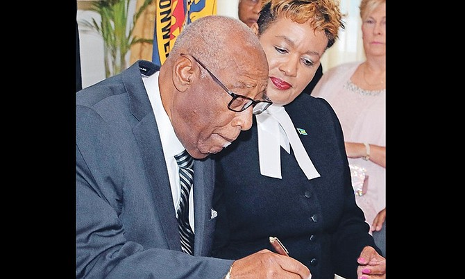 Cornelius A Smith was sworn in as deputy to the governor general at Government House in 2018 by Acting Chief Justice of the Supreme Court Vera Watkins.
