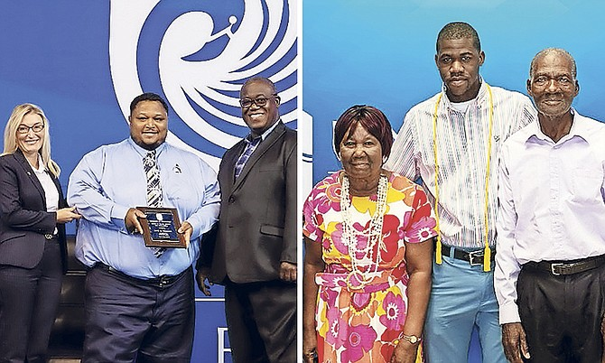 Jared Symonette (left) and Mitthayo Barry (right) receiving their awards at the University of the Bahamas.