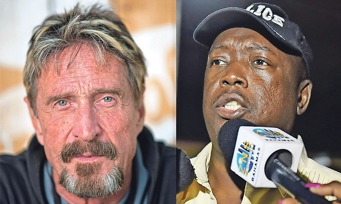 John McAfee, left, and Paul Rolle