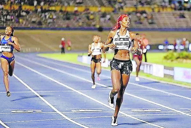 Shaunae Miller-Uibo powers across the finish line to win the 400m at the Racers Grand Prix in Kingston, Jamaica.