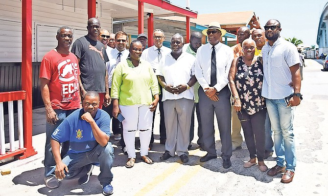 PLP Leader Philip Davis toured Potter's Cay on Tuesday. Photo: Shawn Hanna/Tribune staff