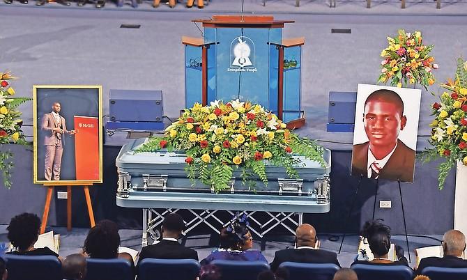 The funeral of Blair John on Saturday. Photo: Shawn Hanna/Tribune staff