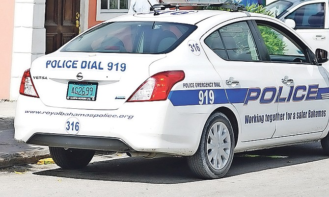A police car in the Montel Heights area on Sunday.