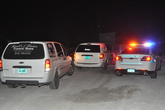 Hearses at Grand Bahama Sailing Club after the victims' bodies arrived from Abaco. Photo: Vandyke Hepburn