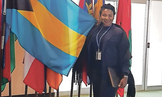 Felicia at the Commission on the Status of Women, United Nations headquarters, New York City.