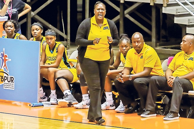 Team Bahamas head coach Varel Clarke-Davis shouts from the sidelines yesterday during their 83-43 loss to Puerto Rico in the Centrobasket Under-17 Championships for Women at the Roberto Clemente Coliseum in San Juan, Puerto Rico.