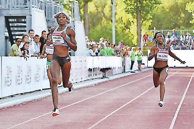 CRUISE CONTROL: Shaunae Miller-Uibo (left) wins the 200 metres at the Hungarian Grand Prix on Tuesday. In a season's best performance, she set another meet record.
