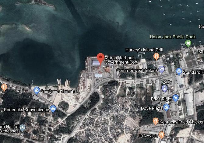 A Google Maps image of Marsh Harbour port.
