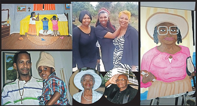 Top: Marsha with her two daughters Antonia and Marsha Renae; above, her father Edmund Knowles, deceased, and mother Ruth Charlotte Fernander Knowles; left: her son, Anthony and grandson, Amez; top left and right: two examples of her work.