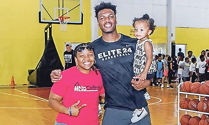 Yolett McPhee-McCuin can be seen during her surprise visit to the Buddy Hield summer camp in Grand Bahama. Photo: 10th Year Seniors
