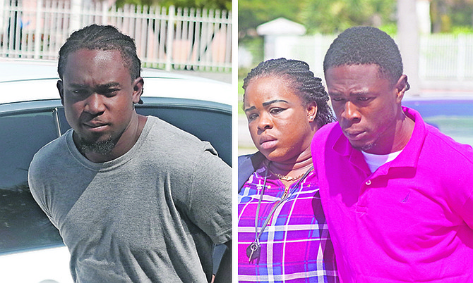 Isaiah Walkine, left, and Jamal Laroda outside court yesterday.  Photos: Vandyke Hepburn