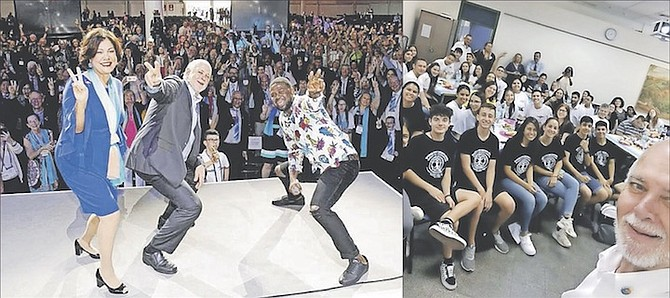 "LEFT: ""V for Peace"" with 27,000 Rotarians and Rotaractors led by Julian Believe with Barry and Esther Rassin; RIGHT: Rassin takes a selfie and uses social media to attract a record-breaking number of younger members, who join Rotaract."