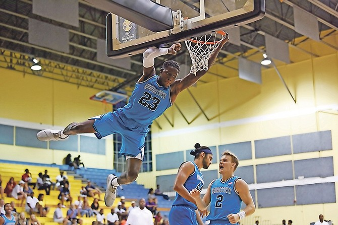 ON THE REPLAY: The Georgetown Hoyas opened their appearance in the Bahamas Basketball Federation's Summer of Thunder basketball tournament with a 103-77 rout of the Commonwealth Bank Giants at the Kendal Isaacs Gymnasium yesterday. 