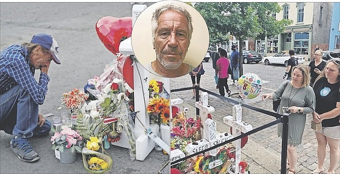LEFT: A makeshift memorial near the scene of a mass shooting in El Paso, Texas. INSET: Jeffrey Epstein, who died by suicide while awaiting trial on sex-trafficking charges. RIGHT: A makeshift memorial in Dayton, Ohio where a gunman killed nine people.