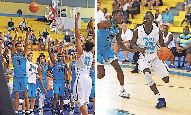 The Georgetown Hoyas in action against the Bahamas men's national basketball team. Photo: Shawn Hanna/Tribune staff