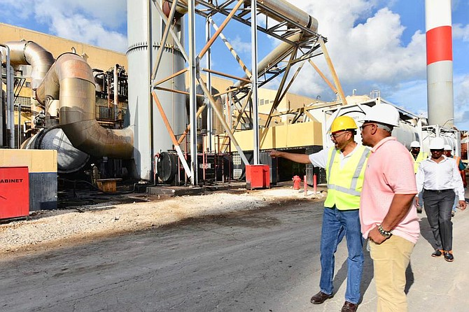 Prime Minister Dr Hubert Minnis toured the Clifton Pier and Baillou Hills power stations on Sunday.   (BIS Photos/Yontalay Bowe)