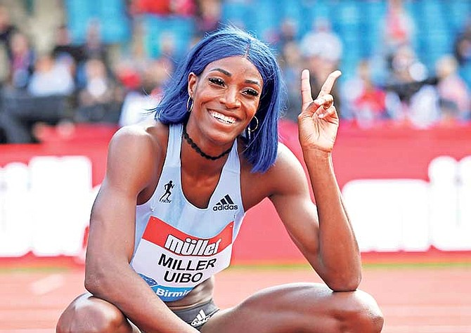 Shaunae Miller-Uibo poses after winning the women's 200m final yesterday at the Muller Grand Prix, Diamond League Birmingham 2019 event at the Alexander Stadium, in Birmingham, England.