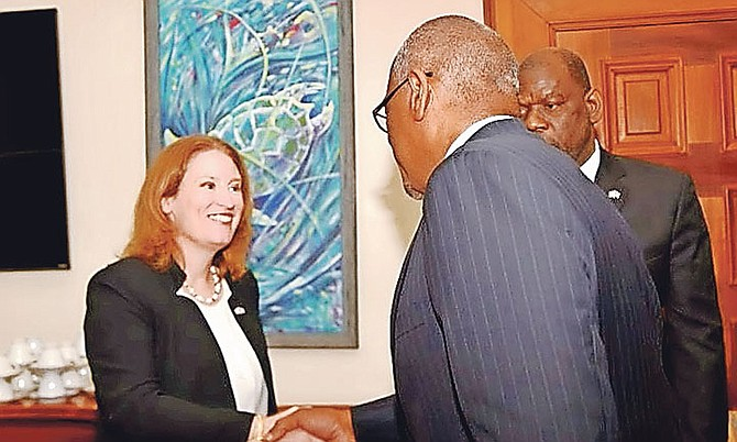 The new High Commissioner to The Bahamas from the UK, Sarah Dickson, meets Prime Minister Dr Hubert Minnis to present her letter of introduction.