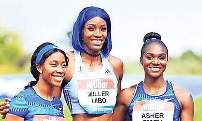 Jamaica's Shelly-Ann Fraser-Pryce, Shaunae Miller-Uibo and Great Britain's Dina Asher-Smith.