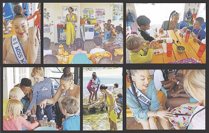 Miss World Bahamas Nyah Bandelier promotes her plastic pollution awareness during Blue Lagoon Island's SeaVenture Summer Camp.