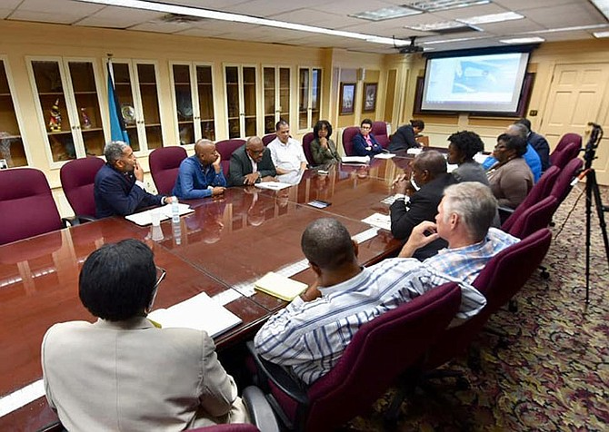 Prime Minister Dr Hubert Minnis met with members of NEMA and senior Government officials on Thursday evening as the country prepares for Hurricane Dorian. The Prime Minister will address the nation live tomorrow at 12pm from the Paul Farquharson Center, Police Headquarters. Tune into ZNS TV and Radio or @opmbs Facebook. Photo: Yontalay Bowe