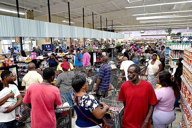 Shoppers in Marsh Harbour, Abaco, stock up on supplies ahead of Hurricane Dorian. Photo: Terrel W Carey Sr/Tribune staff