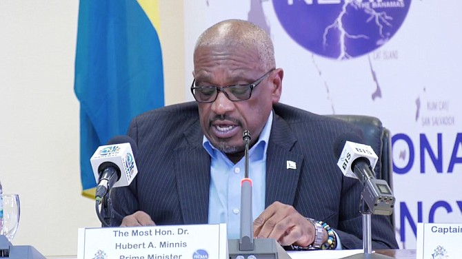 Prime Minister Dr Hubert Minnis speaks on Friday afternoon.