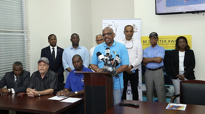 Prime Minster Dr Hubert Minnis speaks at the NEMA press conference.