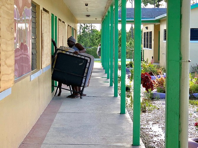 Preparing the shelter at Central Abaco Primary School. Photos: Terrel W Carey/Tribune staff