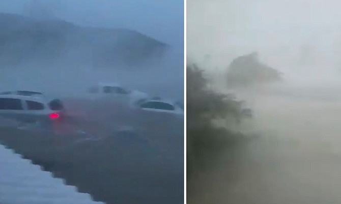 Stills from videos showing the extent of flooding on Grand Bahama.