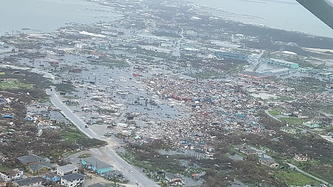 A flight over Abaco Tuesday witnessed this scene of devastation.