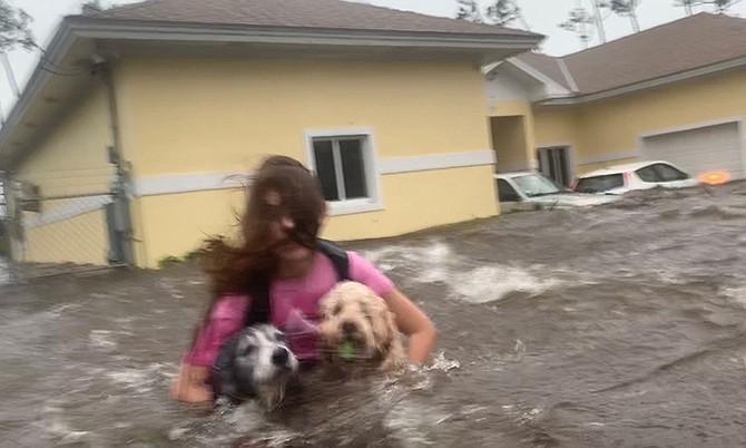 Julia Aylen wades through waist deep water carrying her pet dogs during Hurricane Dorian in Freeport. (AP Photo/Tim Aylen)