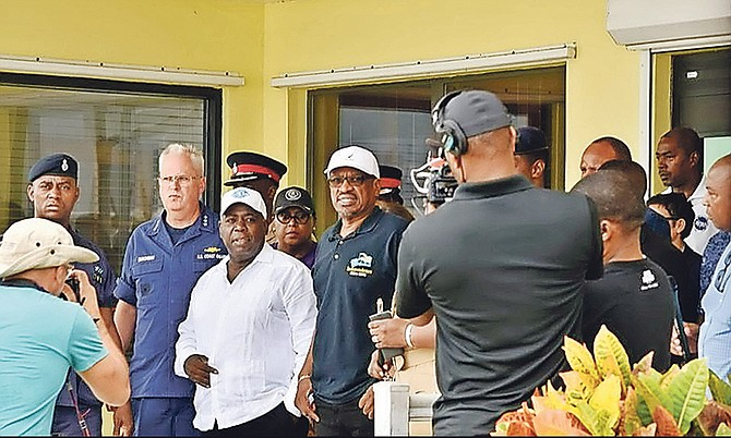 PLP leader Philip 'Brave' Davis joined Prime Minister Dr Hubert Minnis for yesterday's flight over Abaco to assess the impact of Hurricane Dorian. Photo: BIS