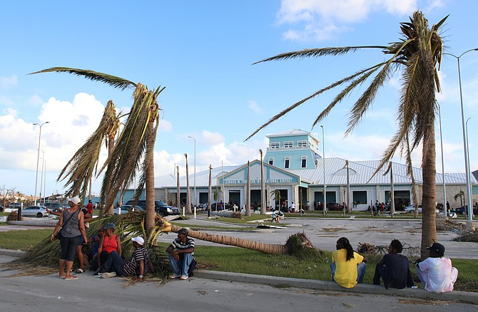 People sit under broken palm trees outside the Leonard M. Thompson International Airport after the passing of Hurricane Dorian in Marsh Harbour, Abaco on Thursday. (AP Photo/Gonzalo Gaudenzi)