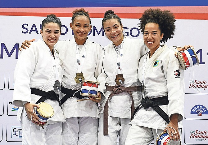ROAD TO TOKYO OLYMPICS: As the lone Bahamian judoka competing in a field of 146 judokas from 20 countries, 25-year-old Cynthia Rahming (far right) secured a bronze medal at the Pan American's Santo Dominican Open over the weekend.