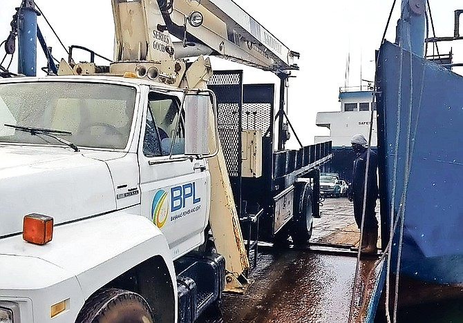 BPL trucks en route to carry out repairs in the hurricane zone.