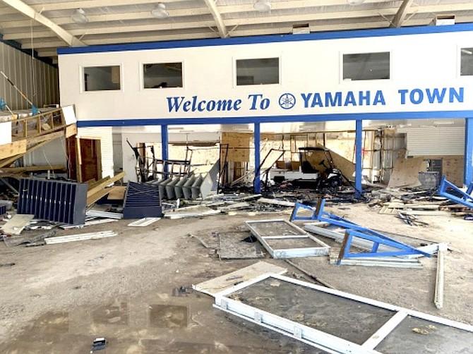 Damages at Abaco's Yamaha dealership.