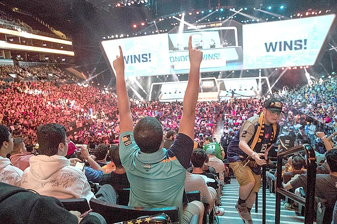 The Overwatch League Grand Finals competition at Barclays Center in New York in 2018. (AP Photo/Mary Altaffer, File)