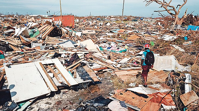 The extensive damage and destruction to The Mudd from Hurricane Dorian. Photo: Gonzalo Gaudenzi/AP
